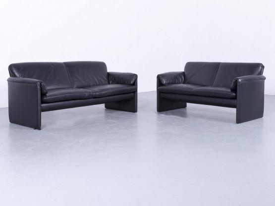 Leolux Bora Designer Leder Sofa Garnitur Schwarz Dreisitzer Couch Echtleder #5994
