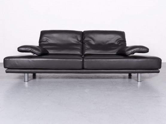 Rolf Benz 2400 Designer Leder Sofa Schwarz Echtleder Dreisitzer