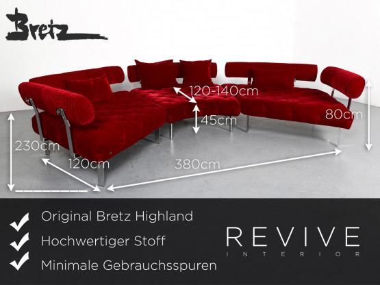 Bretz Highland Designer Stoff Sofa Hocker Garnitur Rot Ecksofa Couch