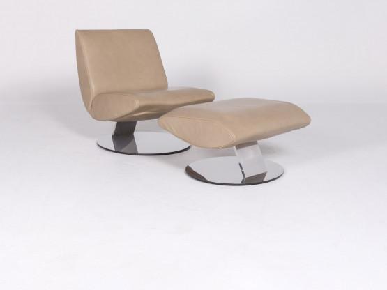 Koinor Josh Designer Leder Sessel Mit Hocker Beige Echtleder Stuhl