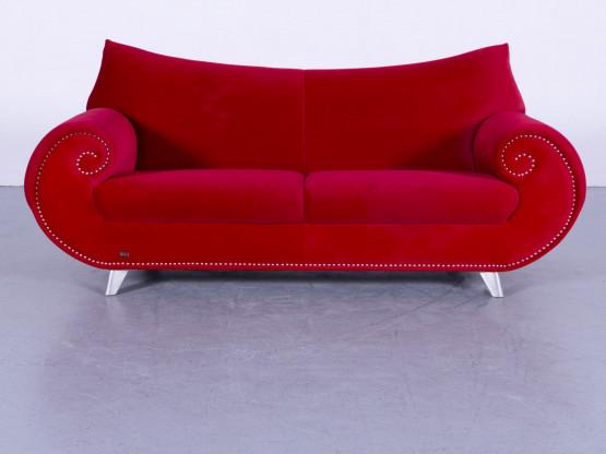 Bretz Gaudi Samt Sofa Rot Zweisitzer Couch Stoff Modern #5721