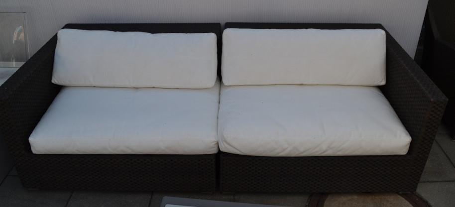 Gartensofa Lounge Dedon weiß/braun Geflecht