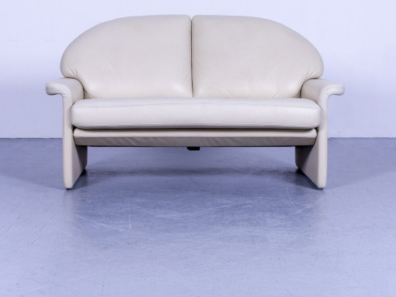 de Sede Designer Leder Sofa Creme Beige Zweisitzer Couch Echtleder #5501