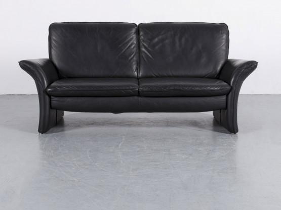 Musterring Leder Sofa Schwarz Dreisitzer Couch Echtleder #6004