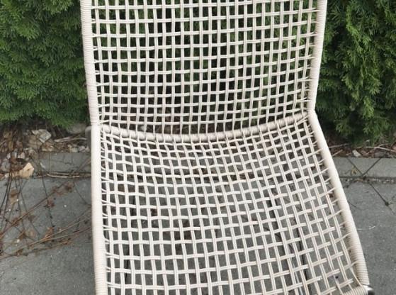Gartenstühle (4 Stück) Slope Weishäupl creme/silber Edelstahl Kordelgeflecht