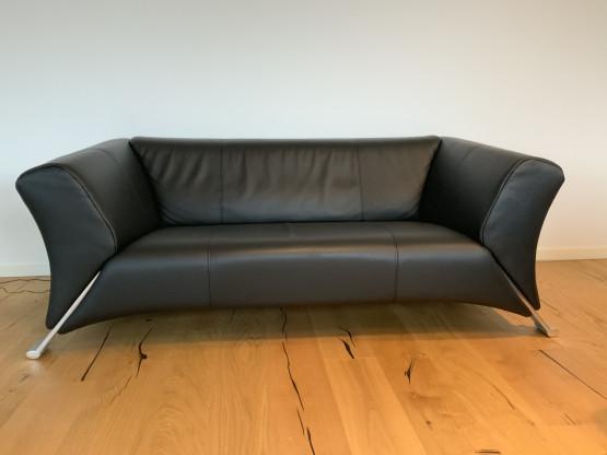 Rolf Benz 322 Designer Leder Sofa Schwarz Echtleder Zweisitzer Couch