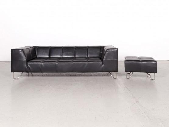 Boconcept Milos Designer Leder Sofa Garnitur Schwarz Dreisitzer