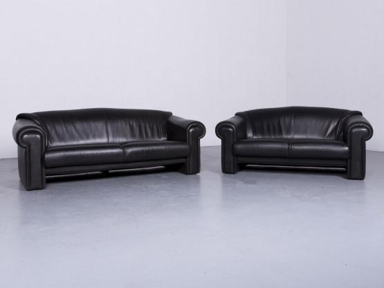 Brühl & Sippold Designer Leder Sofa Garnitur Schwarz EchtlederZweisitzer Dreisitzer Couch #6516