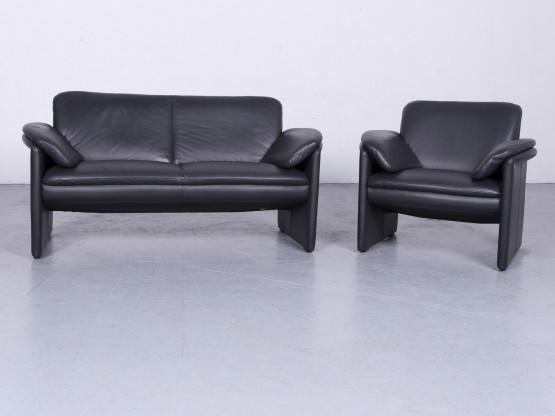 Leolux Catalpa Designer Leder Sofa Sessel Garnitur Schwarz Echtleder