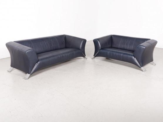 Rolf Benz 322 Designer Leder Sofa Garnitur Blau Echtleder Dreisitzer ...