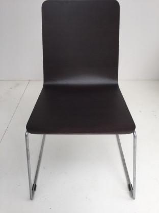 4 x TIPO Chromkufenstuhl mit Holzsitz