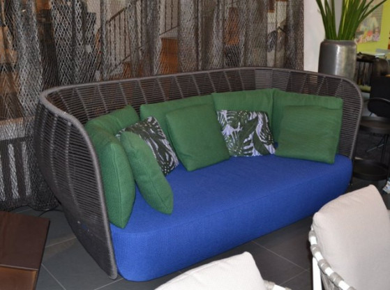 Gartensofa Bay B&B Italia anthrazit Geflecht