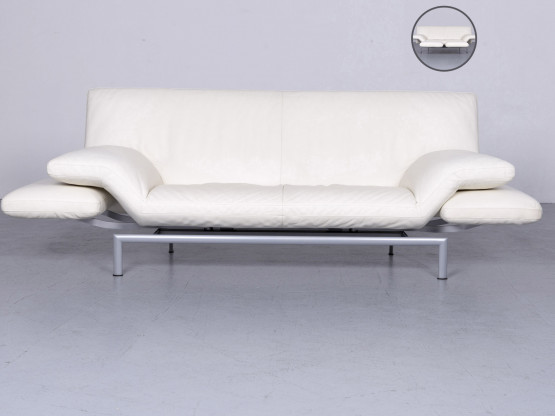 Designo Flyer Designer Leder Sofa Weiß Echtleder Couch Funktion #6035