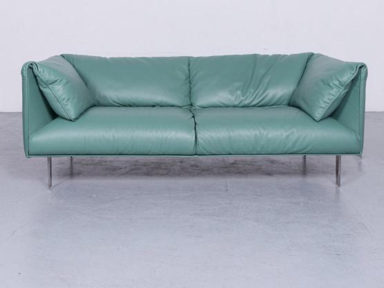 Poltrona Frau John-John Designer Leder Sofa Mint Echtleder Zweisitzer Couch #6578