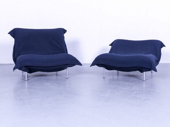 Ligne Roset Calin Designer Stoff Sessel Garnitur Blau Liege Funktion #