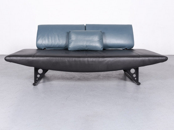 COR Cirrus Designer Leder Sofa Schwarz Echtleder Dreisitzer Couch #6676