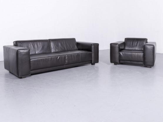 Machalke Navaronne Leder Sofa Garnitur Schwarz Dreisitzer Couch