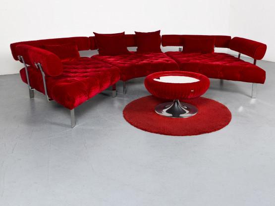 Bretz Highland Designer Stoff Sofa Hocker Garnitur Rot Ecksofa Couch #6711