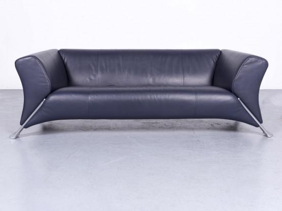 Rolf Benz 322 Designer Leder Sofa Blau Echtleder Dreisitzer Couch ...