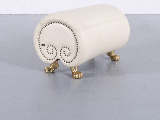 Bretz Gaudi Designer Leder Hocker Beige Schemel Pouf Bank Echtleder #5918