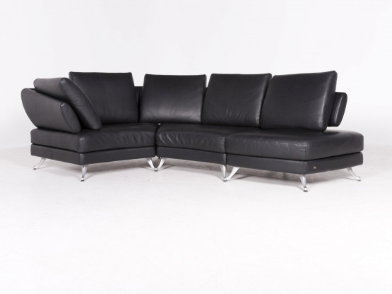 Rolf Benz 222 Designer Leder Ecksofa Schwarz Echtleder Sofa Couch