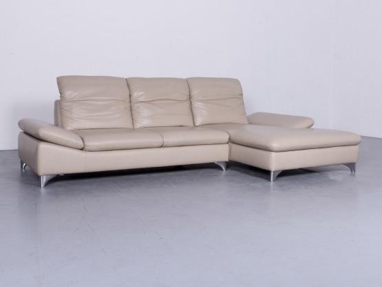 Willi Schillig Enjoy Designer Leder Sofa Beige Echtleder Ecksofa Couch #6429