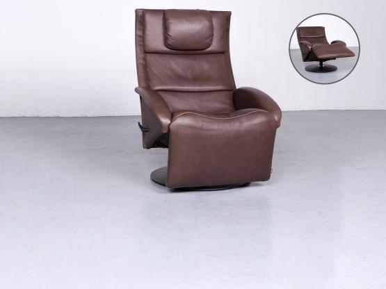 Jori Designer Leder Sessel Braun Echtleder Stuhl Relax 6734