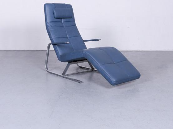 Ewald Schillig Vita Designer Leder Liege Blau Echtleder Einsitzer #6657