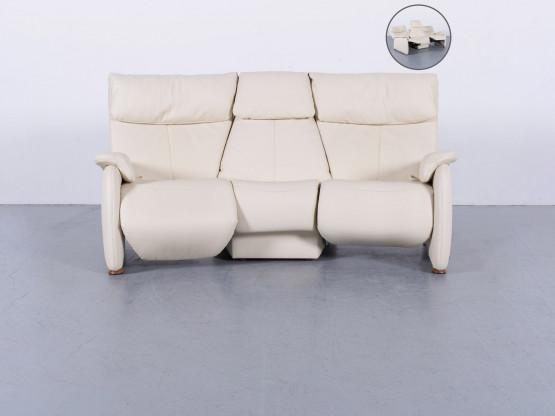 Himolla Designer Trapez Sofa Creme Beige Dreisitzer Relax Funktion Echtleder #5828