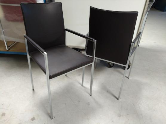 KFF 4er-Set Stuhl Nivo Leder Como braun