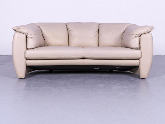 Leolux Designer Leder Sofa Beige Grau Zweisitzer Couch Echtleder #5655
