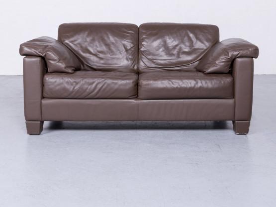 de Sede DS 17 Designer Leder Sofa Braun Echtleder Zweisitzer Couch #6592