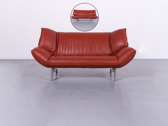 Leolux Tango Leder Sofa Rot Zweisitzer Couch Funktion Echtleder
