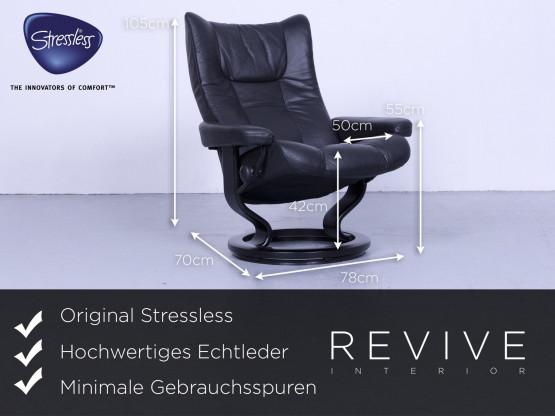 Ekornes Stressless Wing Relax Sessel Garnitur Hocker Schwarz Leder