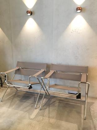 Bauhaus Faltsessel, Taupe/Edelstahl, von TECTA