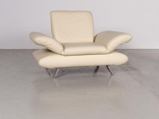 Koinor Rossini Designer Leder Sessel Creme Echtleder Stuhl 7117