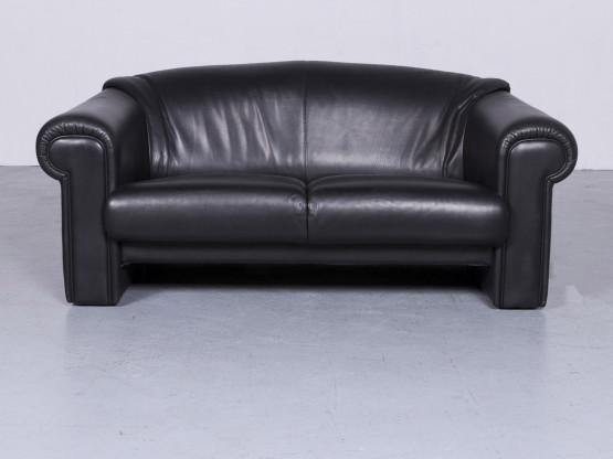 Brühl & Sippold Designer Leder Sofa Schwarz Zweisitzer Echtleder Couch #6276