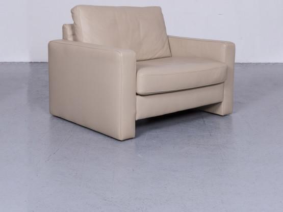 Ewald Schillig Designer Leder Sessel Beige Echtleder Stuhl #6500