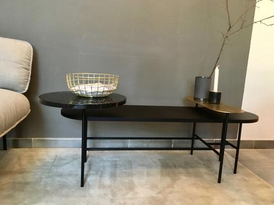 &tradition Designer Couchtisch schwarzer Marmor Esche Messing Mix