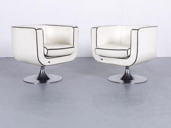Bretz Leder Sessel Garnitur Weiß Einsitzer Stuhl Echtleder Drehstuhl #6236