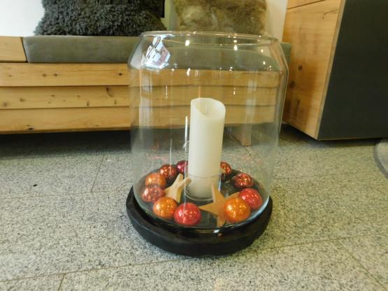 Gommaire Windlicht, Glas mit Schale aus Teak