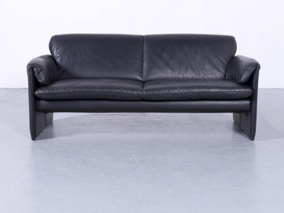 Leolux Bora Designer Leder Sofa Schwarz Dreisitzer Couch Echtleder #5762