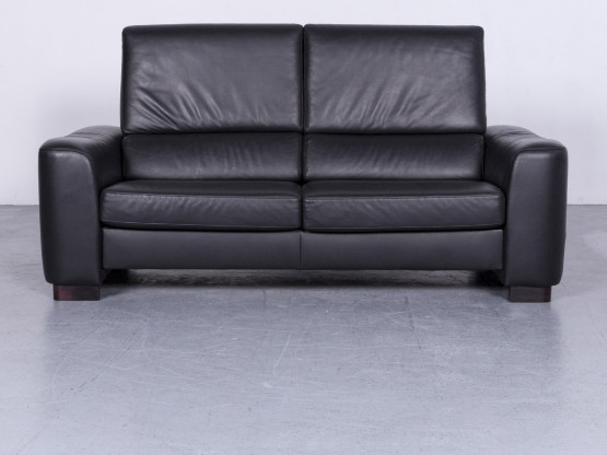 Ewald Schillig Designer Sofa Leder Schwarz Zweisitzer Couch Modern Echtleder #3279