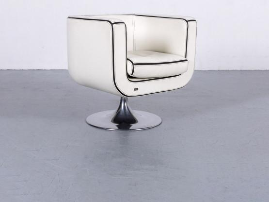 Bretz Leder Sessel Weiß Einsitzer Stuhl Echtleder Drehstuhl #6046