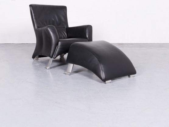 Rolf Benz 322 Designer Leder Sessel Hocker Garnitur Schwarz