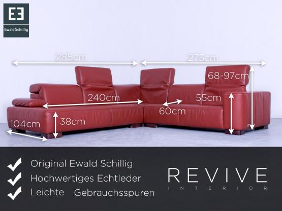 Ewald Schillig Designer Ecksofa + Sessel Orange Rot Leder Couch Funktion  Modern Echtleder Sofa #4438 | Designermöbel Köln   Lövenich