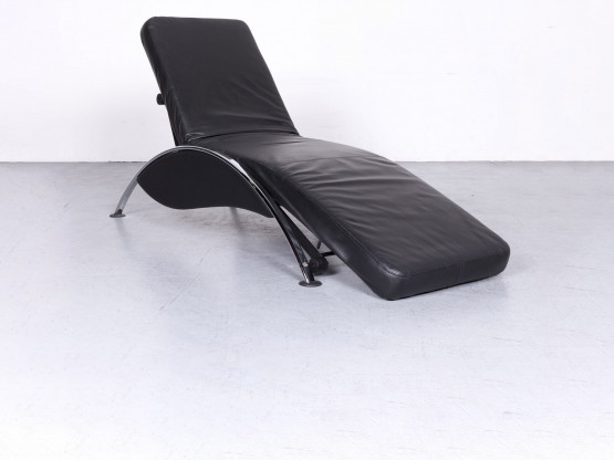 Musterring Designer Leder Liege Schwarz Echtleder Relax Funktion #6756