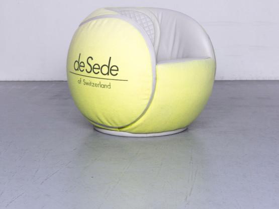de Sede Tennisball Designer Leder Sessel Gelb Echtleder Stoff Stuhl 1985 WTA Turnier #6701