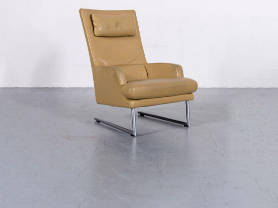Rolf Benz Designer Leder Sessel Gelb Beige Echtleder Stuhl #6148