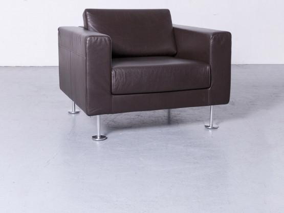 Vitra Park Armchair Designer Sessel Leder Braun by Jasper Morrison Aluminium poliert, Massivholz Echtleder #3658